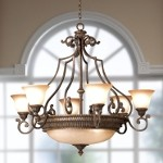"Larissa Collection 9-Light 43"" Tannery Bronze Chandelier with Citrine Glass 2313TZG"