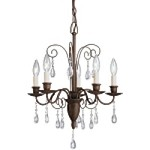 "Barcelona Collection 5-Light 22"" Tannery Bronze Mini Chandelier with Crystal Accents 1631TZ"