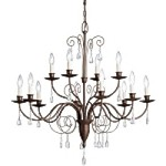 "Barcelona Collection 12-Light 34"" Tannery Bronze Chandelier with Crystal Accents 1633TZ"