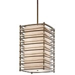 "Moxie Collection 4-Light 25"" Cambridge Bronze Pendant with Linen Shade 42073CMZ"