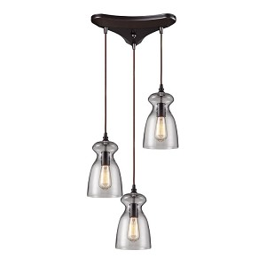 "Menlow Park Collection 3-Light 10"" Oiled Bronze Pendant with Clear Blown Glass 60043-3"