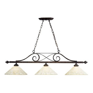 "Billiards Collection 3-Light 50"" Weathered Bronze Pendant with Amber Antique Glass 63004-3"