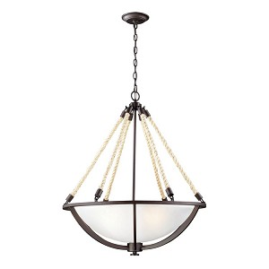 "Natural Rope Collection 4-Light 26"" Aged Bronze Pendant with Satin Glass 63014-4"