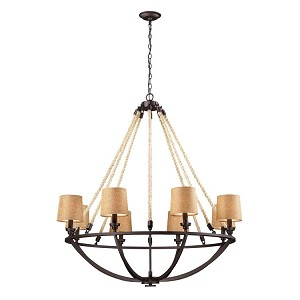 "Natural Rope Collection 8-Light 42"" Aged Bronze Chandelier 63017-8"