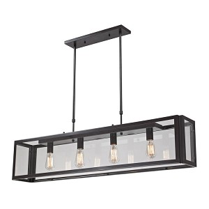 "Parameters Collection 4-Light 47"" Oiled Bronze Linear Pendant with Clear Glass 63023-4"