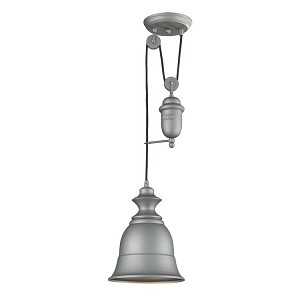 "Farmhouse Collection 1-Light 8"" Aged Pewter Mini Pendant 65080-1"