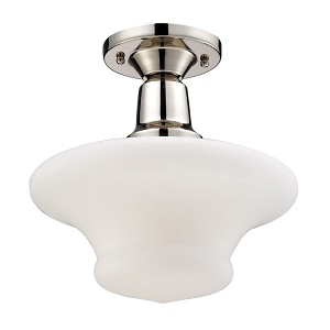 "Barton Collection 1-Light 11"" Polished Nickel Semi Flush with White Hand Blown Glass 66234-1"
