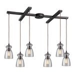 "Menlow Park Collection 6-Light 33"" Oiled Bronze Linear Pendant with Clear Blown Glass 60043-6"
