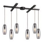 "Menlow Park Collection 6-Light 33"" Oiled Bronze Linear Pendant with Clear Blown Glass 60044-6"