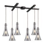 "Menlow Park Collection 6-Light 33"" Oiled Bronze Linear Pendant with Clear Blown Glass 60045-6"