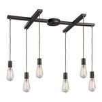 "Menlow Park Collection 6-Light 33"" Oiled Bronze Linear Pendant 60046-6"