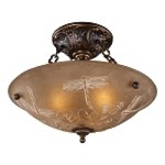 "Restoration Collection 3-Light 16"" Golden Bronze Semi-Flush Mount with Amber Antique Glass 08096-AGB"