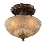 "Restoration Collection 3-Light 10"" Golden Bronze Semi-Flush Mount with Amber Antique Glass 08103-AGB"