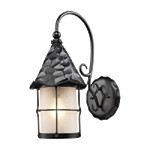 "Rustica Collection 1-Light 19"" Matte Black Outdoor Wall Sconce with White Seedy Glass 385-BK"