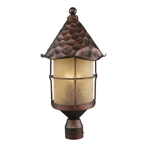 "Rustica Collection 3-Light 26"" Antique Copper Outdoor Post Lantern with Amber Seedy Glass 389-AC"