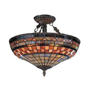 "Jewelstone Collection 3-Light 16"" Classic Bronze Semi-Flush Mount with Tiffany Style Glass 614-CB"