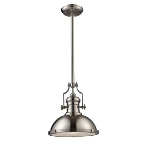 "Chadwick Collection 1-Light 14"" Industrial Satin Nickel Pendant 66124-1"