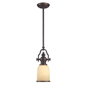 "Chadwick Collection 1-Light 17"" Oiled Bronze Mini Pendant with Amber Glass 66132-1"