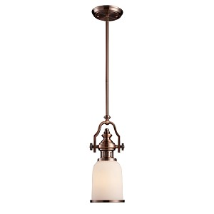 "Chadwick Collection 1-Light 17"" Antique Copper Mini Pendant with White Glass 66142-1"