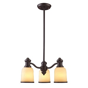 "Brooksdale Collection 3-Light 20"" Oiled Bronze Mini Chandelier with Amber Glass 66172-3"