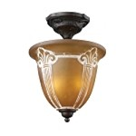 "Restoration Collection 2-Light 16"" Aged Bronze Semi-Flush Mount with Amber Antique Glass 66340-2"