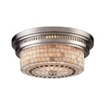 "Chadwick Collection 2-Light 13"" Satin Nickel Flush Mount with Cappa Shell Glass 66421-2"