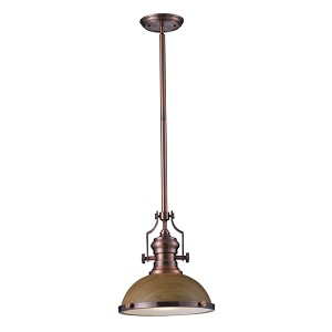 "Chadwick Collection 1-Light 14"" Industrial Antique Copper LED Pendant with Medium Oak Shade 66544-1-LED"
