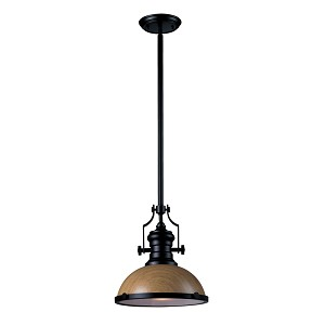 "Chadwick Collection 1-Light 14"" Industrial Oiled Bronze Pendant with Medium Oak Shade 66554-1"