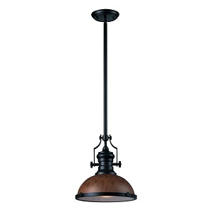"Chadwick Collection 1-Light 14"" Industrial Oiled Bronze Pendant with Burl Wood Shade 66555-1"