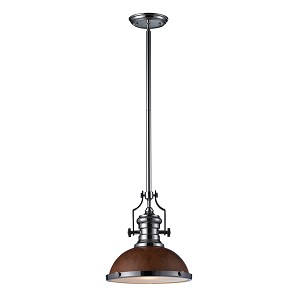 "Chadwick Collection 1-Light 14"" Industrial Polished Nickel LED Pendant with Burl Wood Shade 66565-1-LED"