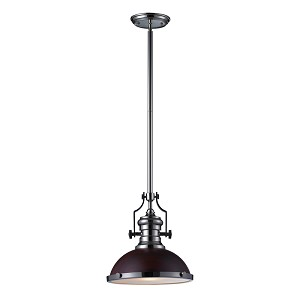 "Chadwick Collection 1-Light 14"" Industrial Polished Nickel LED Pendant with Dark Walnut Shade 66566-1-LED"