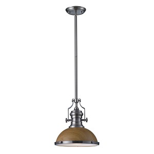 "Chadwick Collection 1-Light 14"" Industrial Satin Nickel LED Pendant with Medium Oak Shade 66574-1-LED"