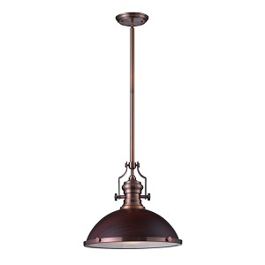 "Chadwick Collection 1-Light 17"" Industrial Antique Copper LED Pendant with Dark Walnut Shade 66646-1-LED"