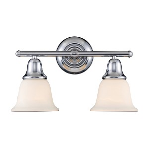 "Berwick Collection 2-Light 17"" Polished Chrome Bathroom Vanity Light with White Glass 67011-2"