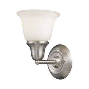 "Berwick Collection 1-Light 7"" Brushed Nickel Wall Sconce with White Glass 67020-1"