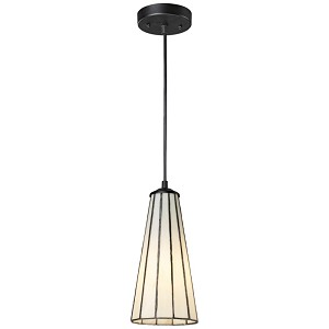 "Lumino Collection 1-Light 12"" Mini Pendant with Comet White Tiffany Style Glass 70000-1CW"
