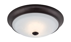 "Designers Fountain LED Oil Rubbed Bronze Alabaster Glass Bowl 13"" Flush Mount - LED1002-34"