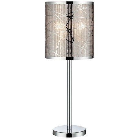 "Lorenza Collection 1-Light 25"" Chrome Table Lamp with Cross-Hatched Shade LS-22107"