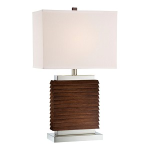 "Pernell 1-Light 26"" Walnut Stacked Wood Table Lamp LS-22170"