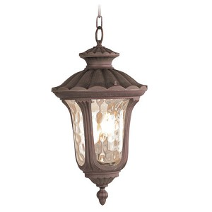 "Oxford Collection 3-Light 20"" Imperial Bronze Outdoor Wall Lantern with Amber Water Glass 7658-58"