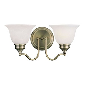 "Essex Collection 2-Light 15"" Antique Brass Bath Light with White Alabaster Glass 1352-01"