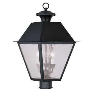 "Mansfield Collection 3-Light 12"" Black Outdoor Post Head with Seeded Glass 2169-04"