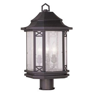 "Tahoe Collection 3-Light 10"" Bronze Outdoor Post Head with Seeded Glass 2314-07"
