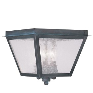 "Amwell Collection 3-Light 10"" Charcoal Outdoor Ceiling Mount with Seeded Glass 2549-61"