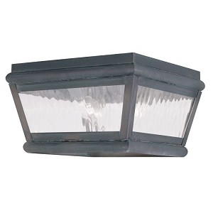 "Exeter Collection 2-Light 8"" Charcoal Outdoor Ceiling Mount with Clear Water Glass 2611-61"