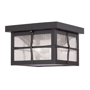 "Brighton Collection 2-Light 8"" Hammered Bronze Finish Outdoor Ceiling Mount with Seeded Glass 2688-07"
