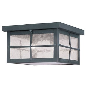 "Brighton Collection 3-Light 10"" Hammered Charcoal Finish Outdoor Ceiling Mount with Seeded Glass 2689-61"