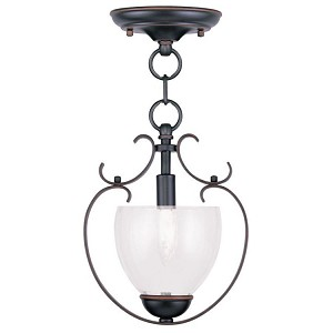 "Brookside Collection 1-Light 9"" Olde Bronze Convertible Chain Hang/Ceiling Mount with Hand Blown Clear Water Glass 4800-67"