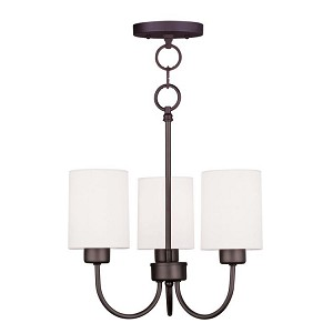 "Sussex Collection 3-Light 13"" Bronze Convertible Chain Hang/Ceiling Mount with Hand-Made Off-White Linen Hardback Sit-on Shade 5263-07"