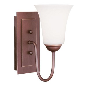 "Ridgedale Collection 1-Light 6"" Vintage Bronze Wall Sconce with Hand Blown Satin White Glass 6481-70"